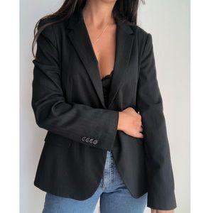 Zara pinstriped fitted one button blazer L